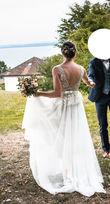 Robe de mariée Max Chaoul - T38 - dentelle et tulle de soie - Occasion du Mariage