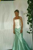 Robe de Mariée deux pièces écrue et verte, bustier en soie pas cher
