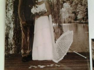 Robede mariée d'occasion en mousseline couleur ivoire