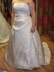 Robe de mariée Bella d'occasion ivoire sans bretelle et avec traîne