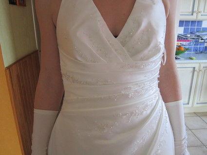 Robe de mariée Saint Patrick T46 blanc effet satiné d'occasion