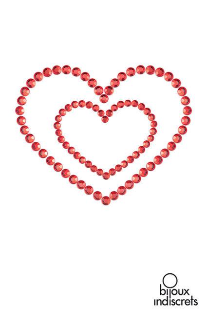Bijoux de peau coeurs-rouge-noir-argenté