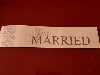Plaque de voiture just married pour votre mariage