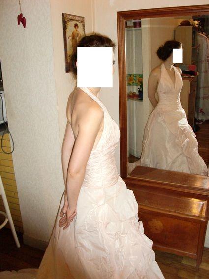 Robe de mariage rose pâle T36 taille fine boutique Bellissima à Lyon