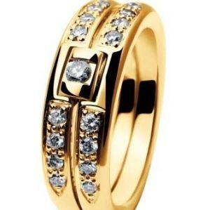 Alliance or jaune et diamants Chut Je T'aime