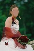 Robe de mariée d'occasion création Point Mariage avec écharpe pas cher