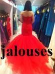 Robe sirène Haute couture Rouge avec jupon et housse
