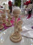 5 bougeoirs angelots neufs en résine ivoire et doré  - Occasion du Mariage