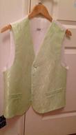 Ensemble gilet/cravallière et pochette vert anis - Occasion du Mariage