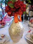 2 Vases en resine doré motifs feuilles sculptées - Occasion du Mariage