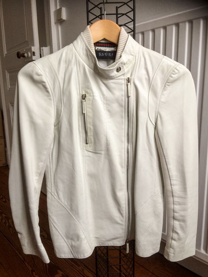 Veste Perfecto GUCCI blanche en cuir d'agneau - Doubs