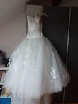 Robe de mariée ivoire cymbeline tulle d'occasion, bustier en satin