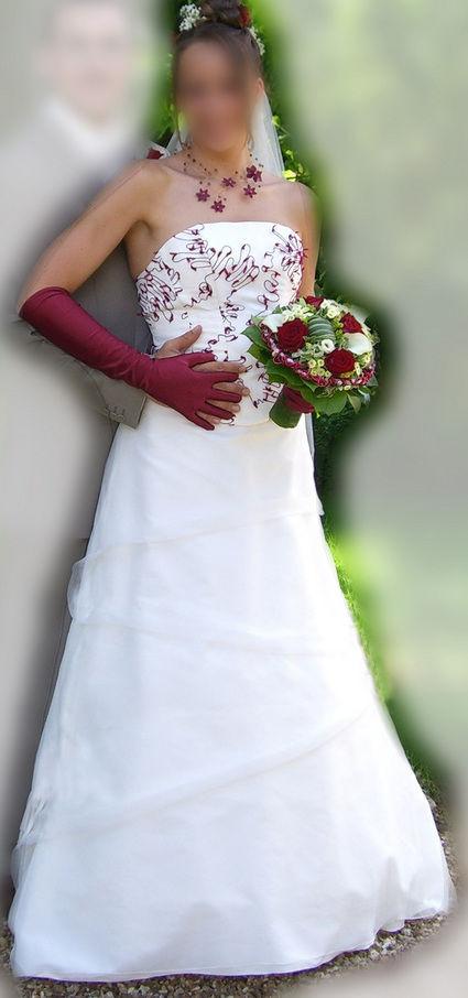 Robe de mariée pas cher Ivoire-Bordeaux - Occasion du mariage