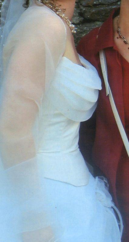 Robe de mariée bustier d'occasion organza + voile
