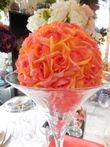 Boules de roses pêche orange diam 25 cm  - Occasion du Mariage