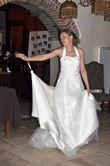 Robe de mariée forme bustier avec perles d'occasion