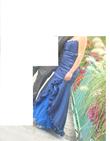 Robe de soirée sirène couleur bleu nuit d'occasion