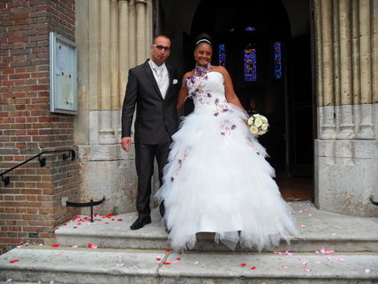Robe de mariée Arum Annie Couture couleur ivoire et aubergine